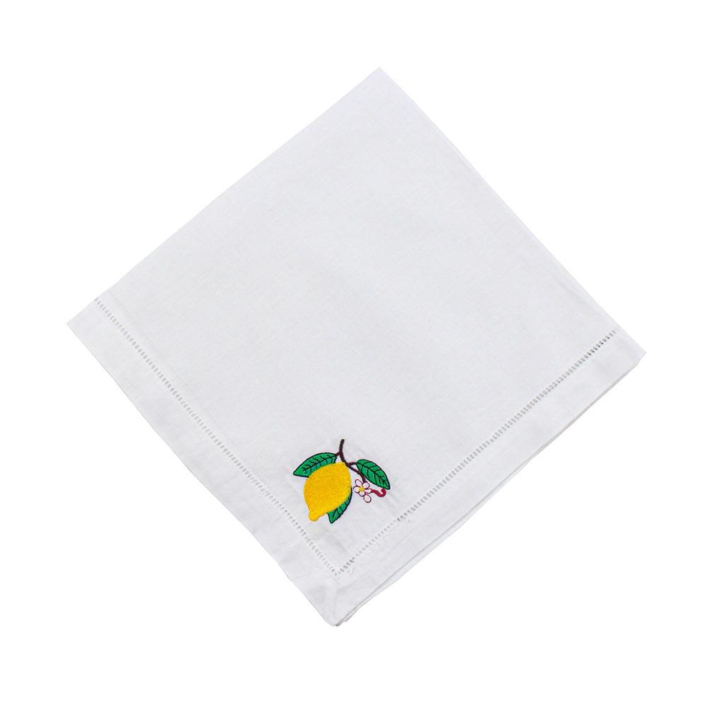 Guardanapo Linho/Algodão Bordado Limão Siciliano 50X50cm - Un