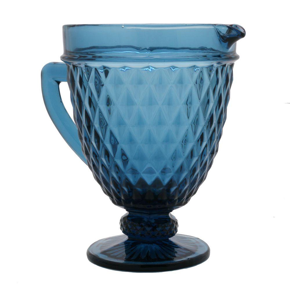 Jarra De Vidro Bico De Abacaxi - Azul - 1L