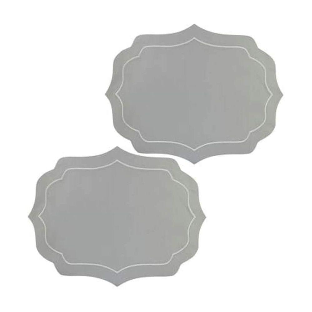 Jogo Americano de Algodao Bordado Conjunto de 2 Peças - Branco / Cinza