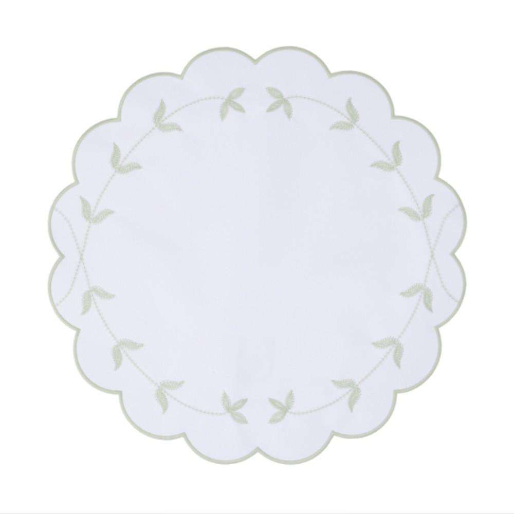 Jogo Americano Les Feuillues - Branco/Celadon Ø 42 cm