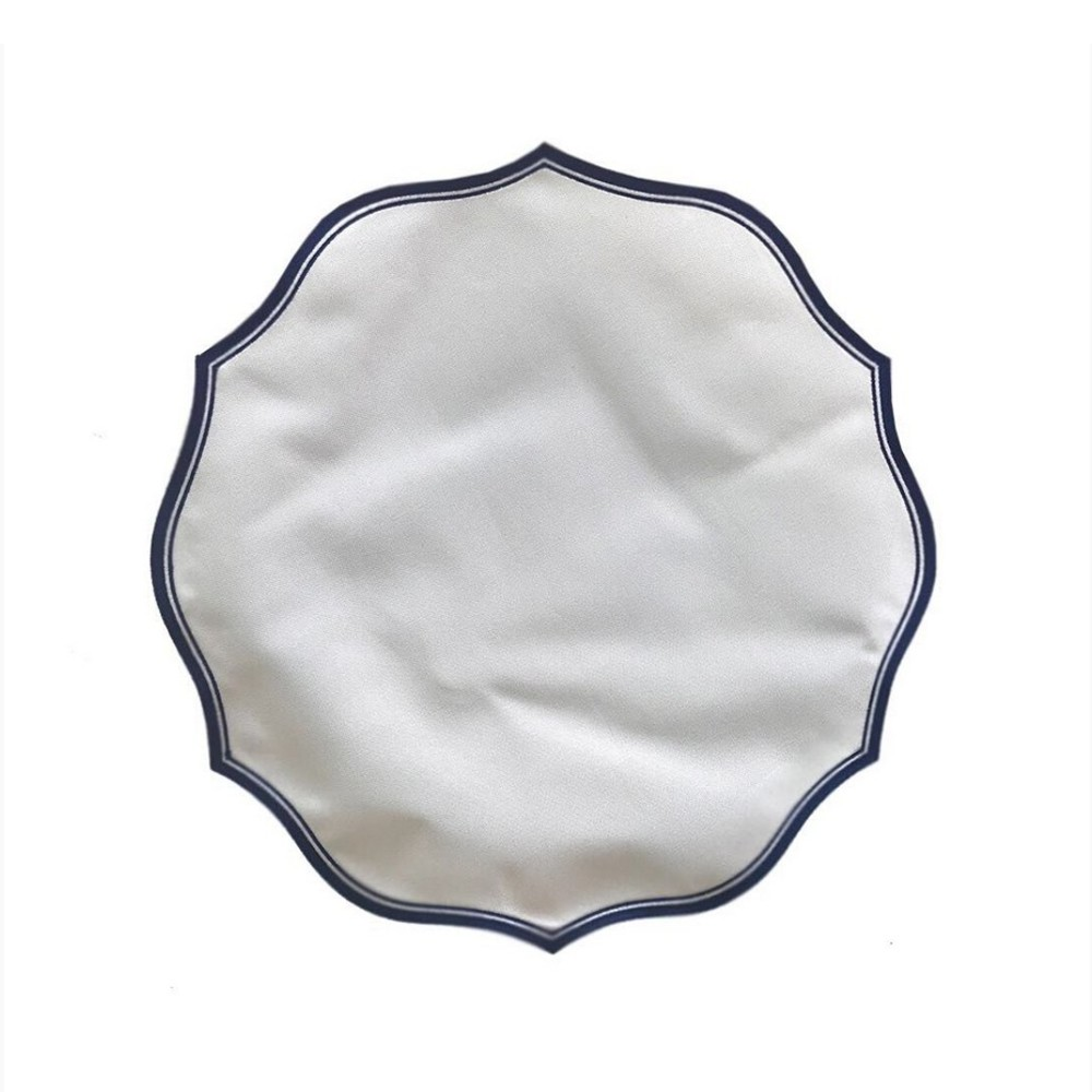 Jogo Americano Provence - Branco/Azul Marinho - Ø 40 cm