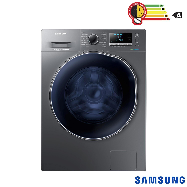 Lava e Seca 11/7Kg Samsung Smart WD6000 Porta Crystal Blue com Ecobubble™ e Lavagem a Seco WD11J64E4AX - Inox Look