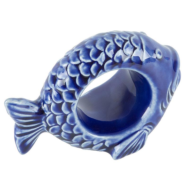 Porta Guardanapo Peixe Ocean Azul em Cerâmica - Conjunto de 4 Unidades