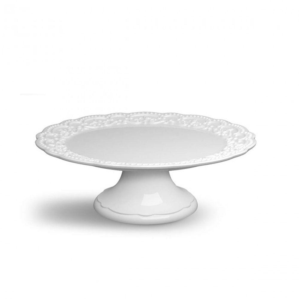 Prato De Bolo Passion Branco Em Ceramica - Medio - Ø 30 cm