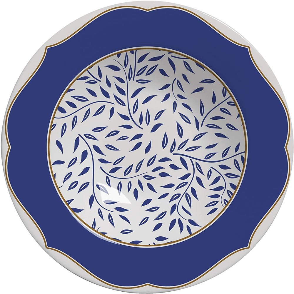 Prato de Fundo Branch Azul Marinho Em Ceramica - Conjunto De 6 Peças