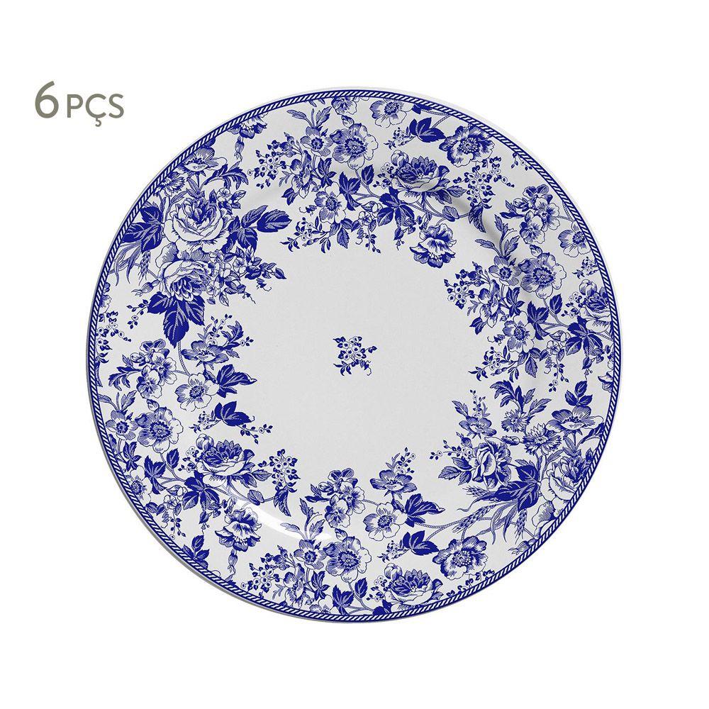 Prato de Sobremesa Blue Garden em Cerâmica - Conjunto de 6 Unidades