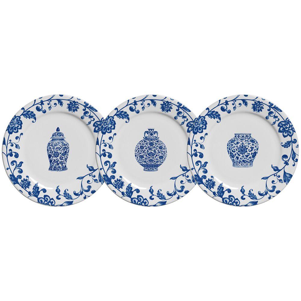 Prato de Sobremesa La Chinoise em Cerâmica - Conjunto de 6 Unidades
