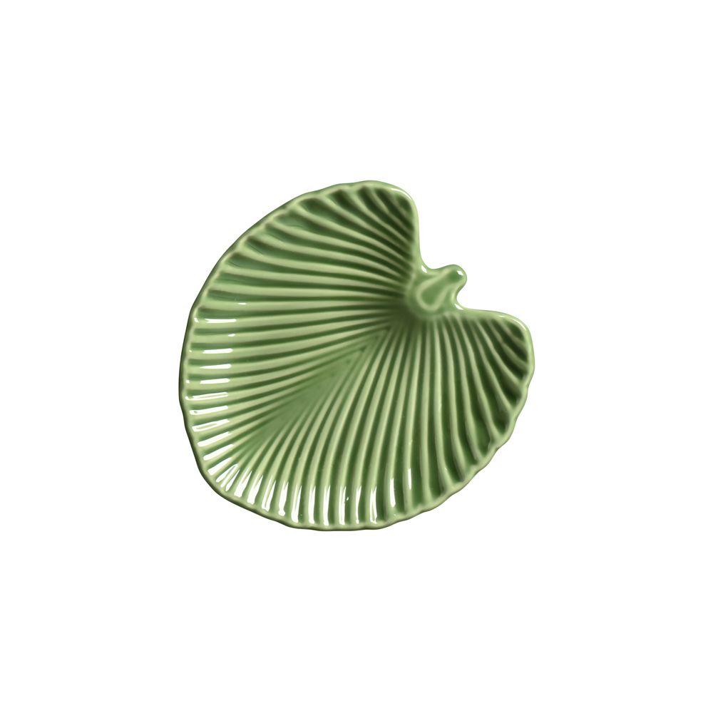 Prato de Sobremesa Leaves Relevada Verde em Cerâmica - Conjunto de 6 Unidades