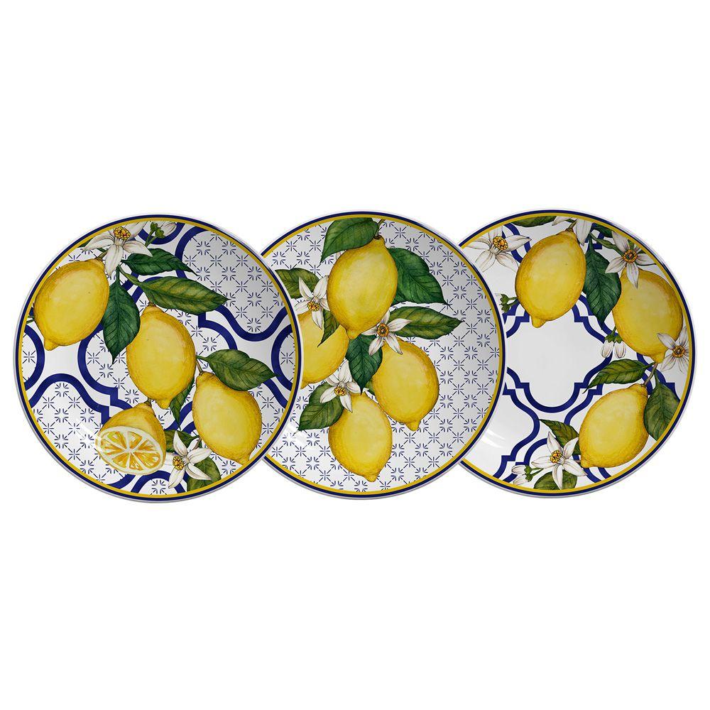 Prato de Sobremesa Sicilia em Cerâmica - Conjunto de 6 Unidades (2 pratos de cada)