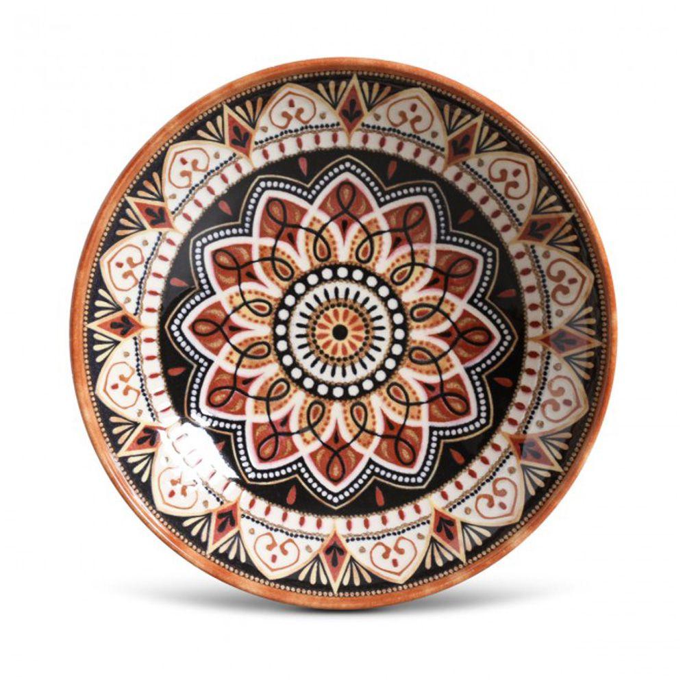 Prato Fundo Damasco Em Ceramica - Conjunto De 6 Unidades