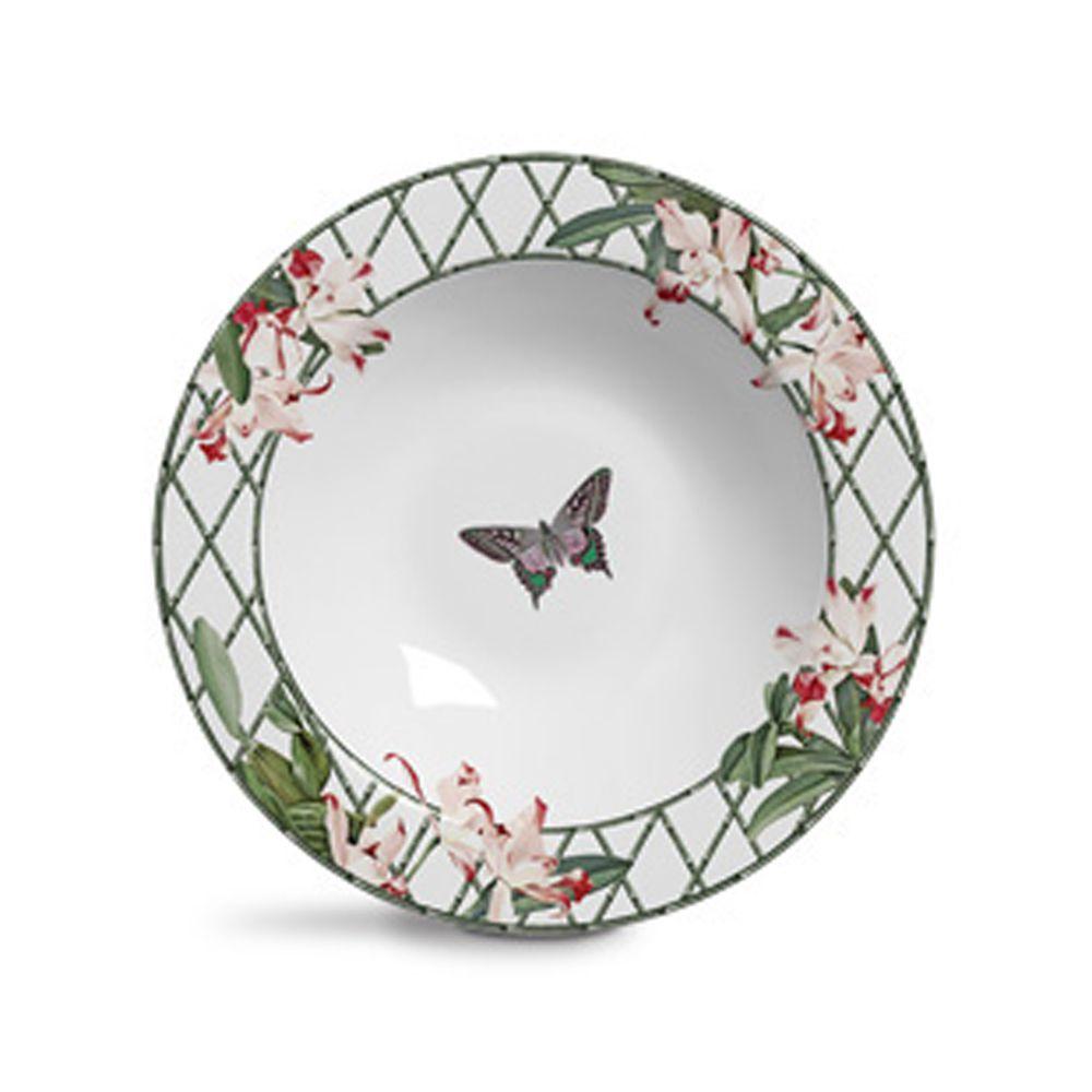Prato Fundo Orquidea em Cerâmica - Conjunto de 6 Unidades