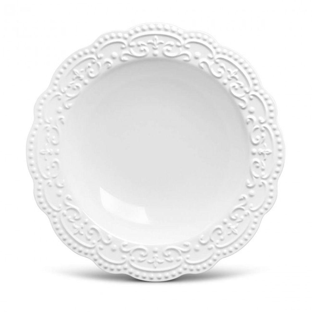 Prato Fundo Passion Branco Em Ceramica - Conjunto de 6 Unidades