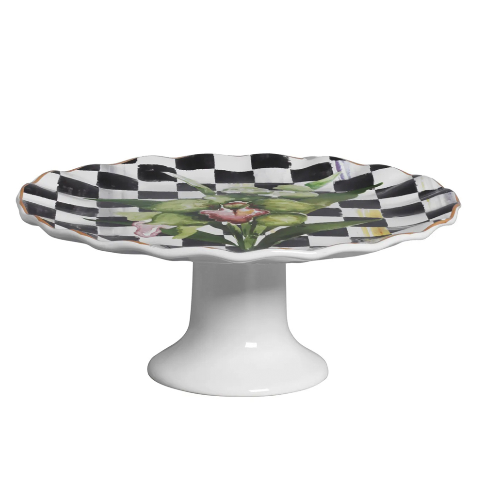 Prato para Torta c/ Pé Floral Chess