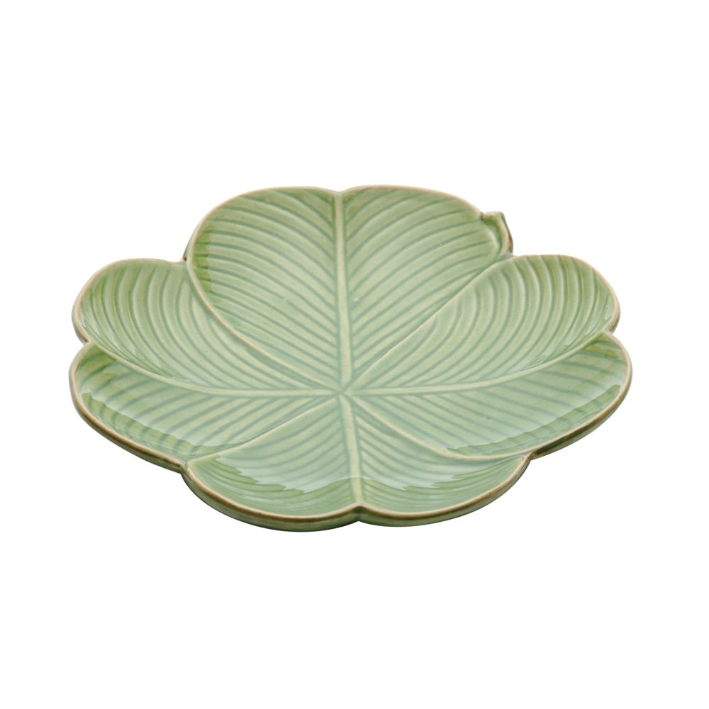 Prato Raso Banana Leaf Em Cerâmica - Verde - 27,5x26,5 cm