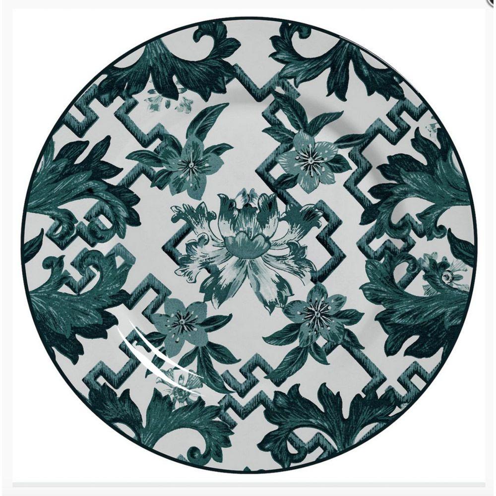 Prato Raso Chines Verde Em Ceramica - Conjunto de 6 Peças