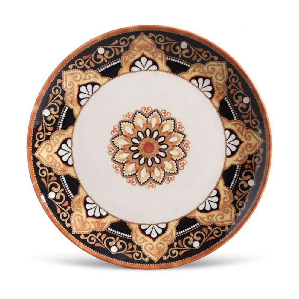 Prato Raso Damasco Em Ceramica - Conjunto De 6 Unidades