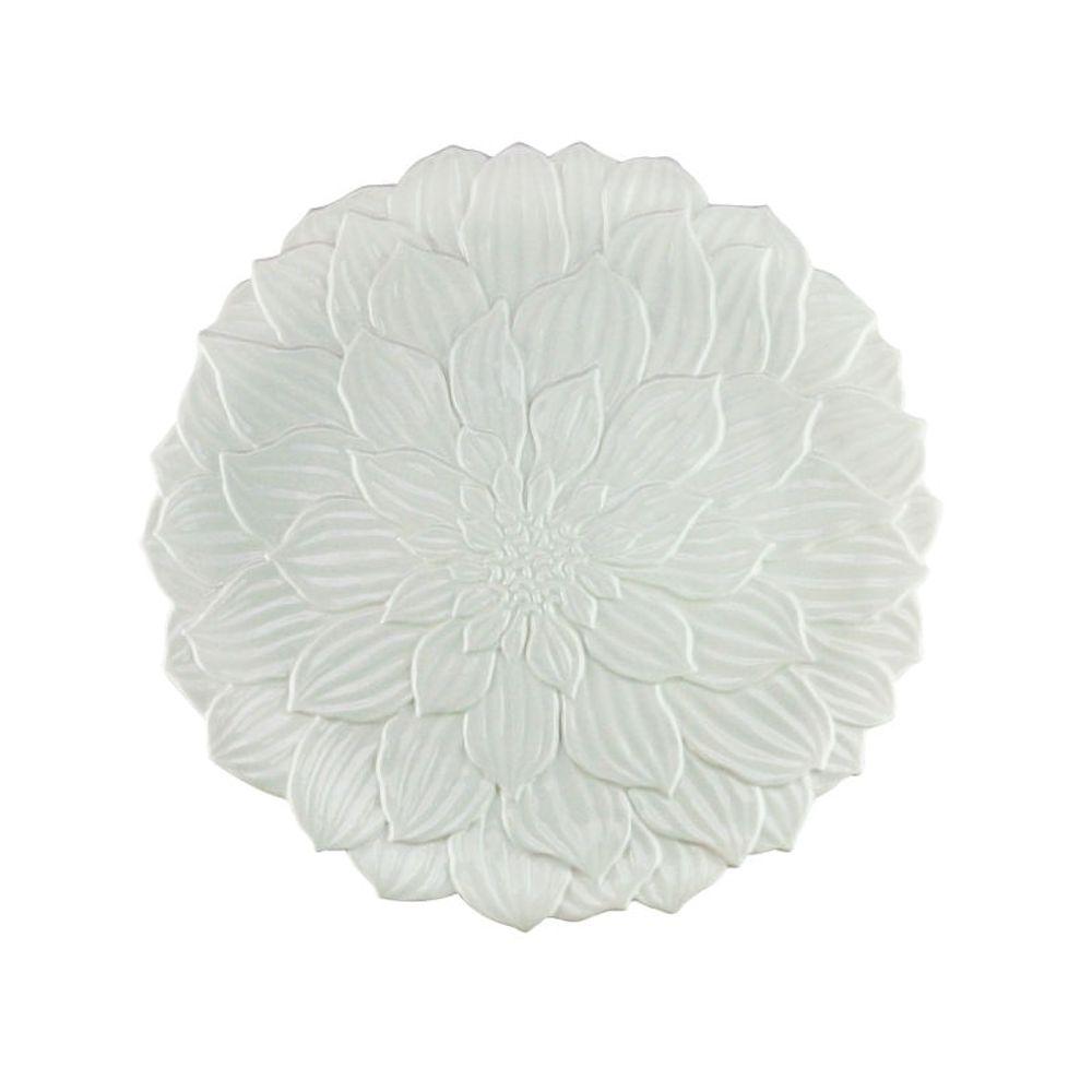Prato Raso de Porcelana Daisy Branco 27cm