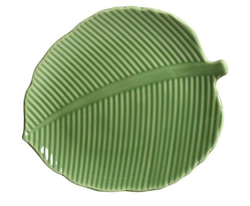 Prato Raso Leaves Relevada Verde em Cerâmica - UN