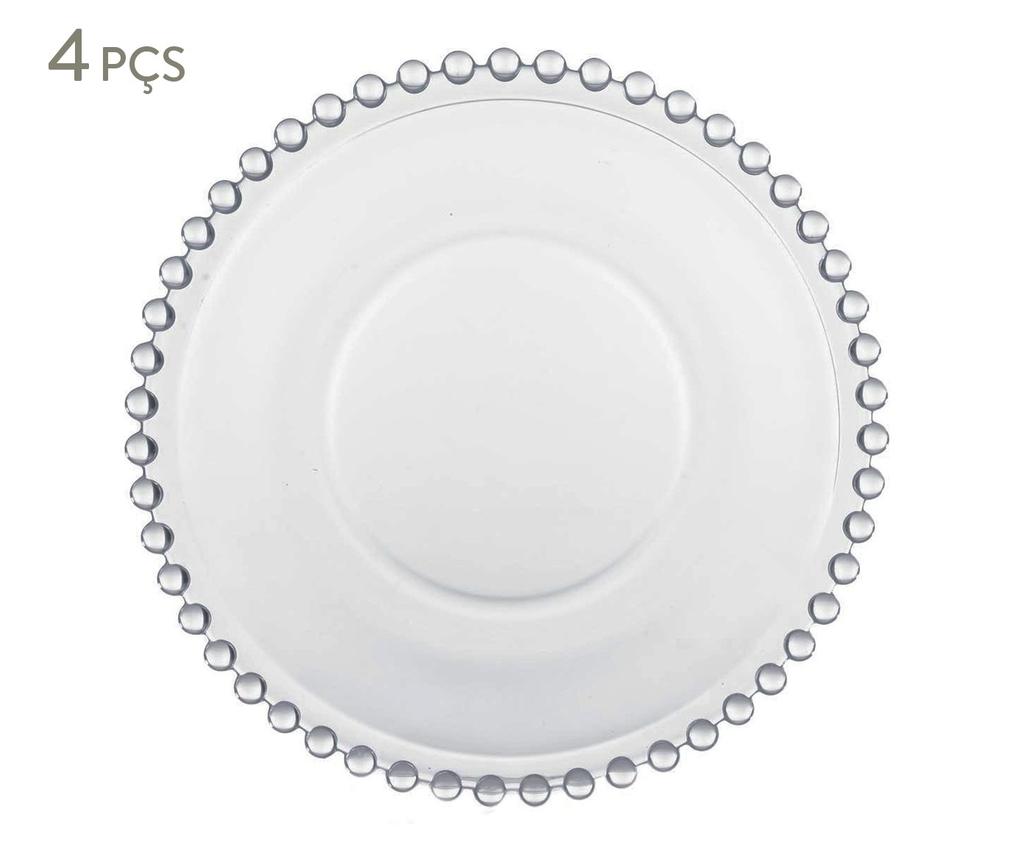 Prato Sobremesa de Cristal Wolff Pearl - Conjunto de 4 Unidades