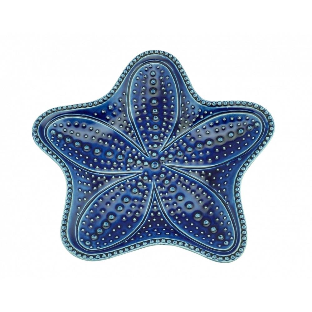 Prato Sobremesa Estrela Ocean Azul em Cerâmica 15cm - Conjunto de 4  Unidades
