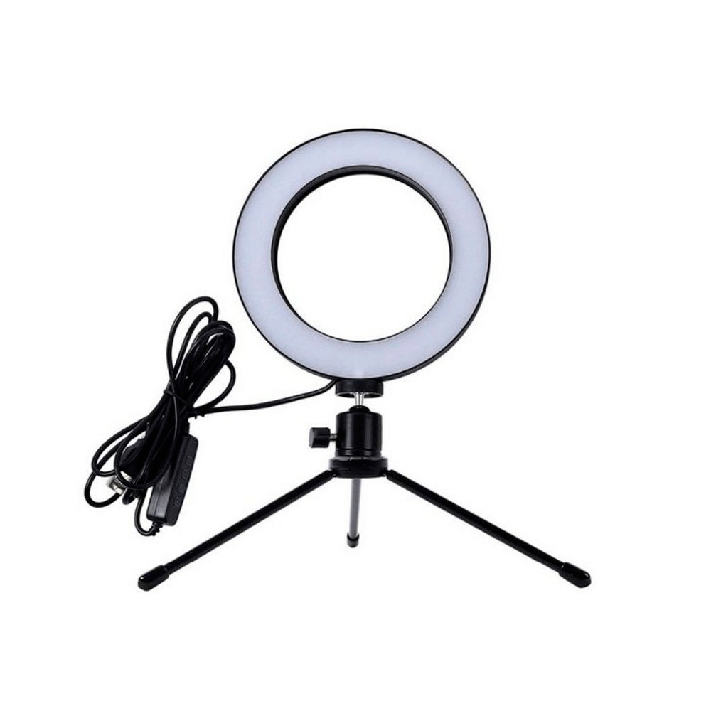 Ring Light Led, com Tripe 6,5', USB, Temperatura de Cor Ajustável - Preto