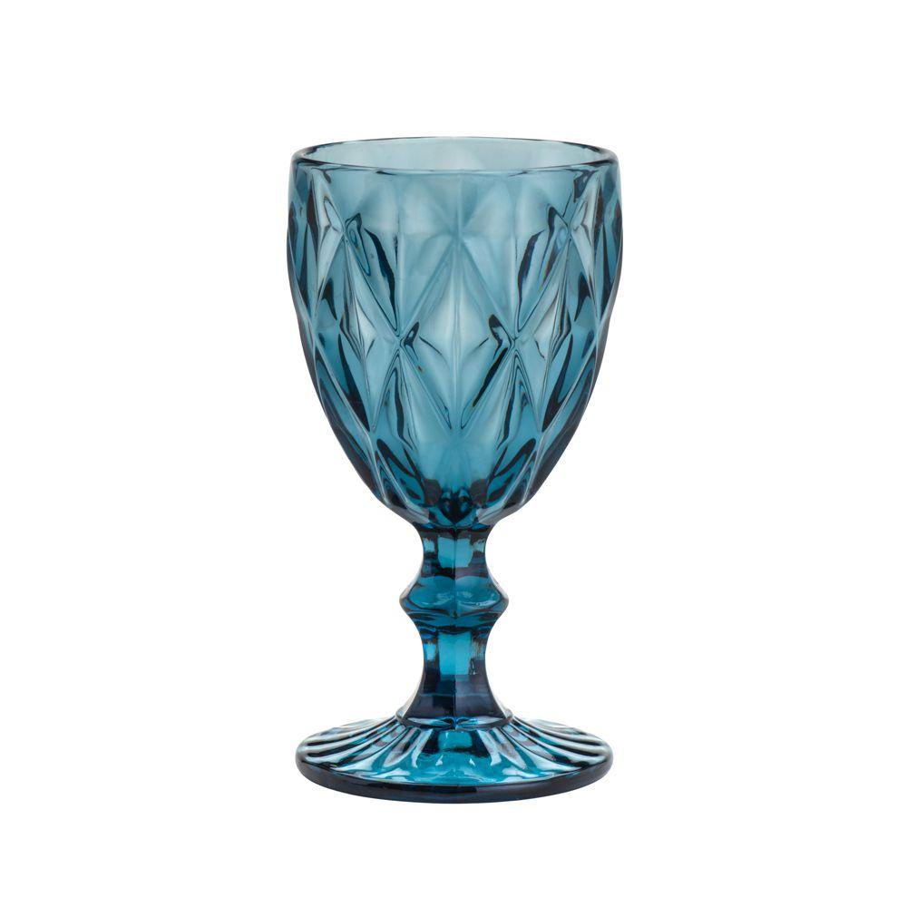Taça De Vidro Diamond Azul - Conjunto de 6 Unidades - 325ml