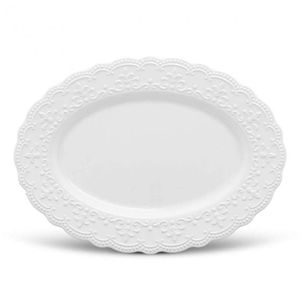 Travessa Passion Branca Em Ceramica - Grande - 52 x 38 cm