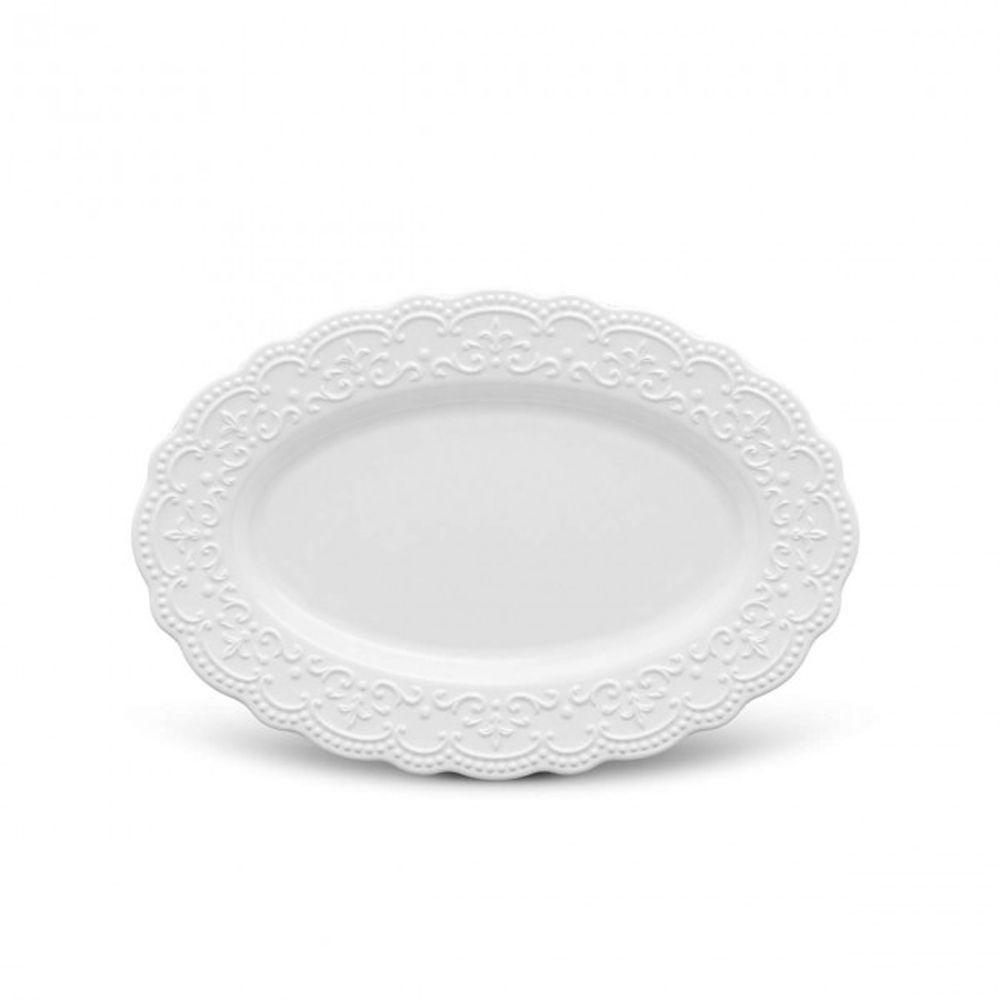 Travessa Passion Branca Em Ceramica - Media - 42 x 29 cm