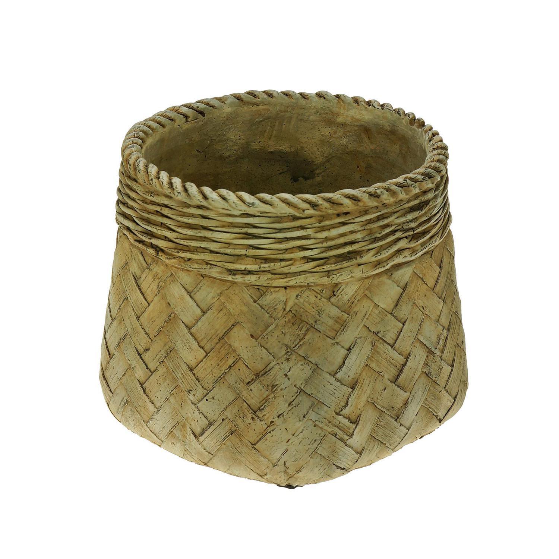 Vaso Decorativo de Cimento Palha 15x14cm