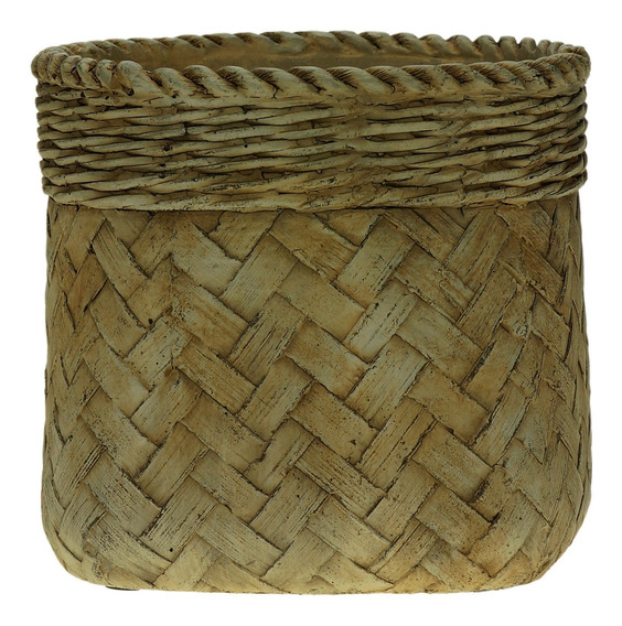 Vaso Decorativo de Cimento Palha 17x16cm