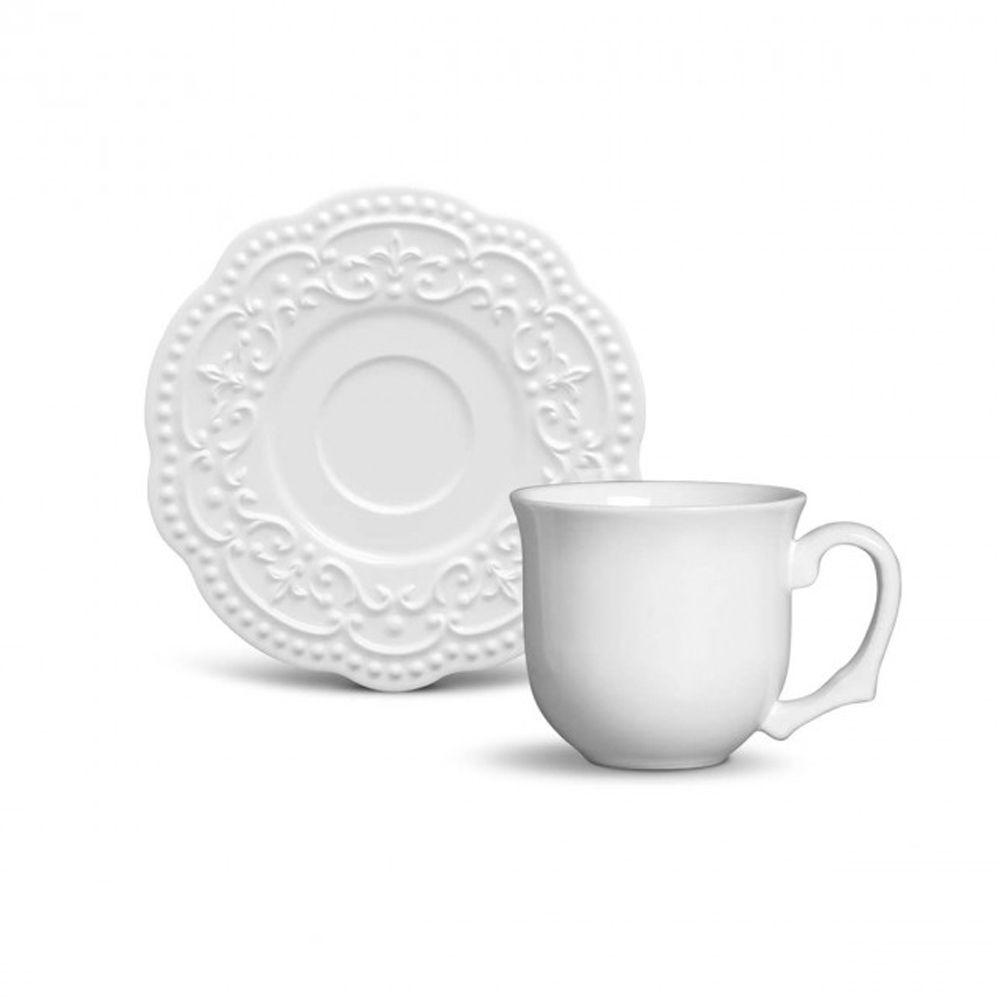 Xícara De Café Passion Branca Em Ceramica - Conjunto de 6 Unidades