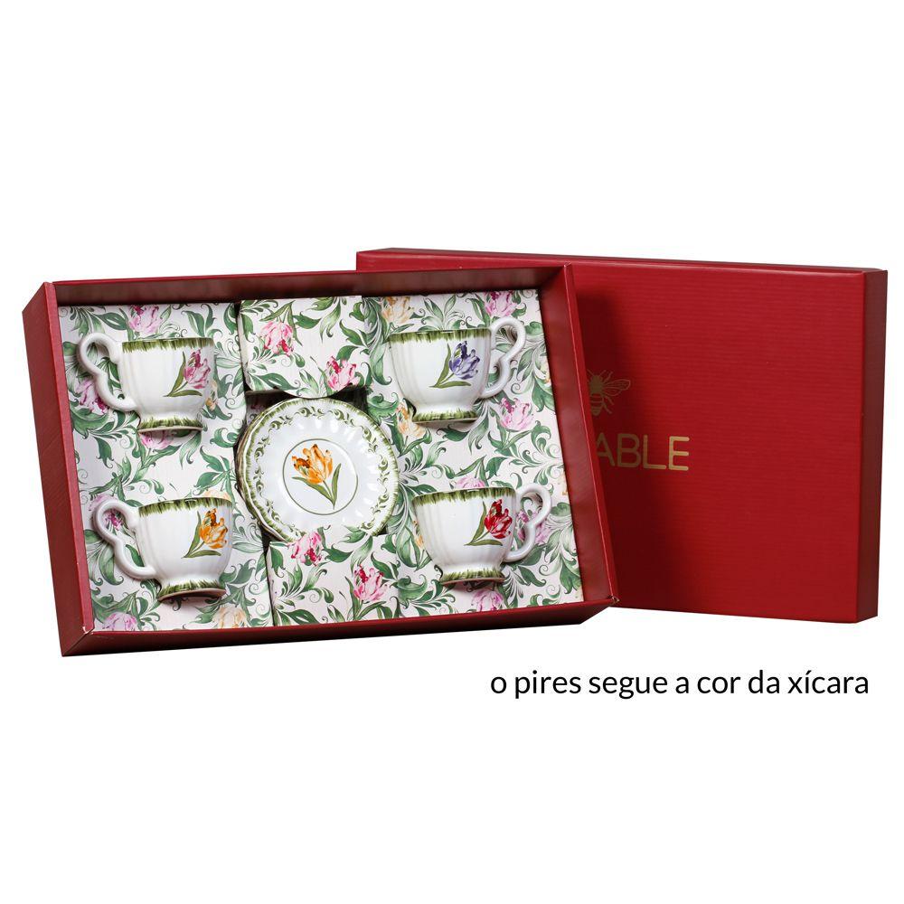 Xicara de Chá Tulipas em Cerâmica - Conjunto de 4 Unidades
