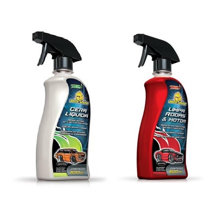 Kit Cera Liquida 500ml Autoshine + Limpa Rodas e Motor 500ml Autoshine