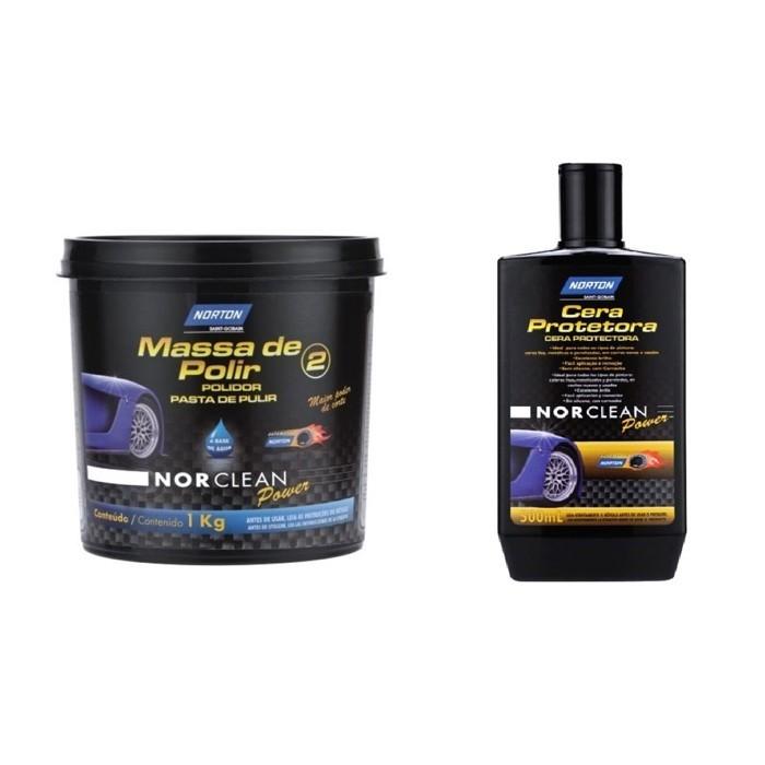 Kit Massa de Polir + Cera Protetora Norclean Norton