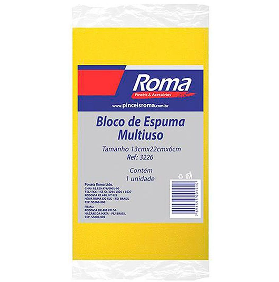 Bloco de Espuma Multiuso 13X22X6cm Roma