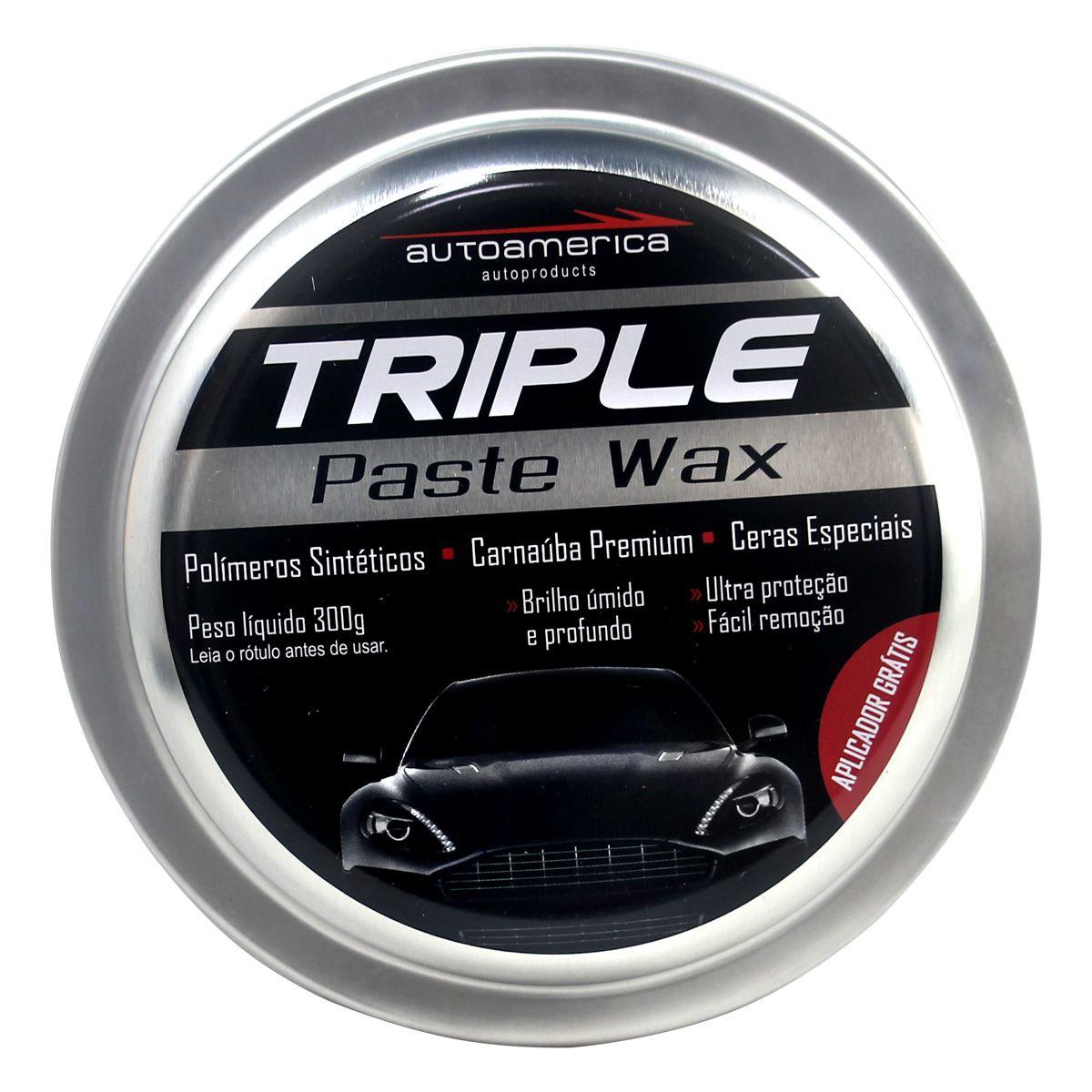 Cera Triple Paste Wax 300g Autoamerica 6 unidades