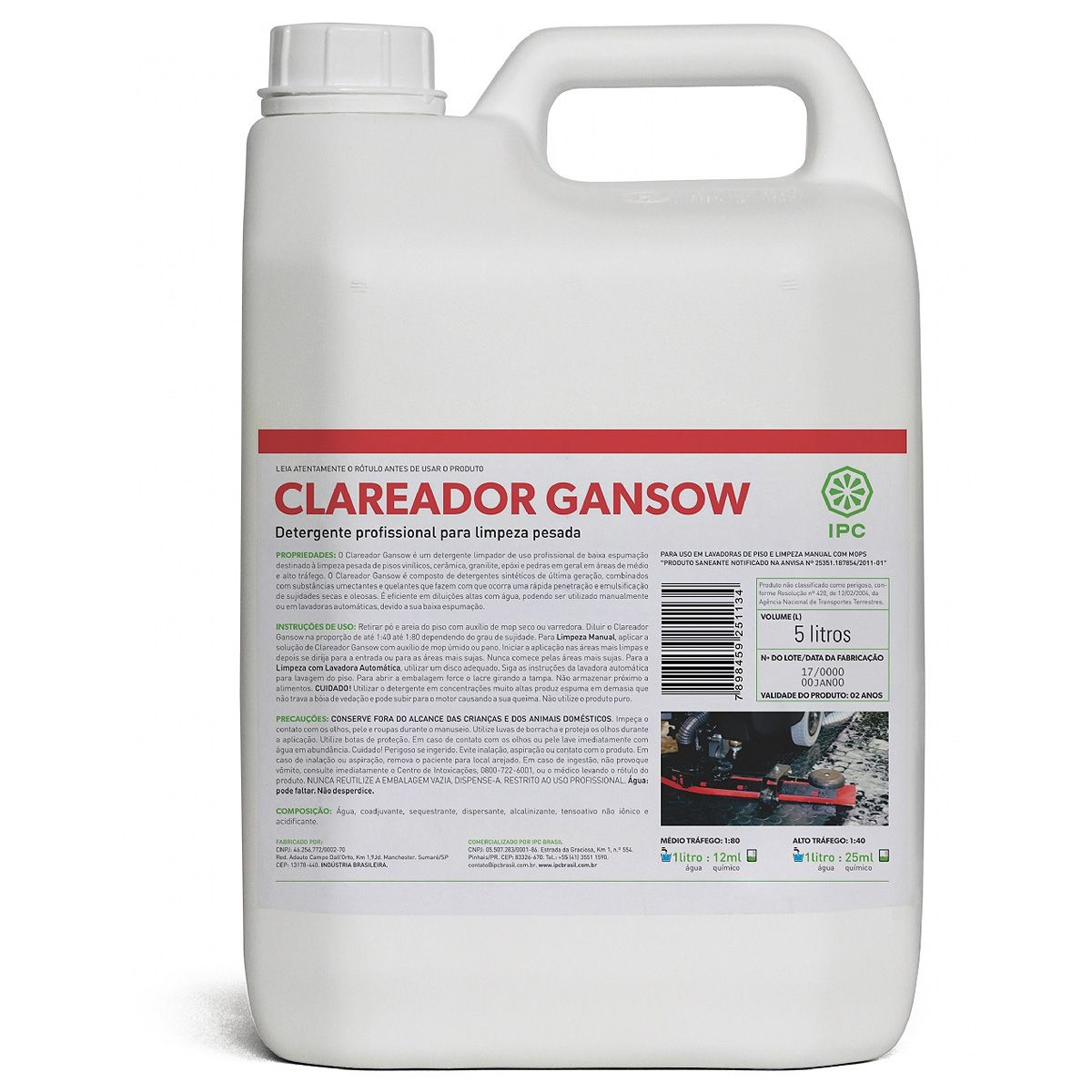 Clareador Gansow Limpeza pesada 5 Litros Ipc Soteco