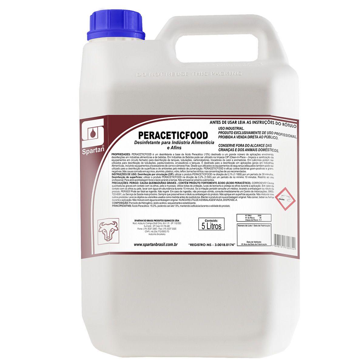 Desinfetante para Indústria Alimentícia Peraceticfood 5 Litros Spartan