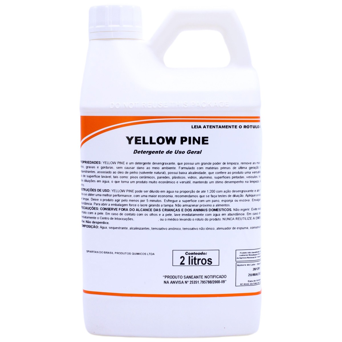 Detergente Desengraxante Yellow Pine 2 Litros Spartan