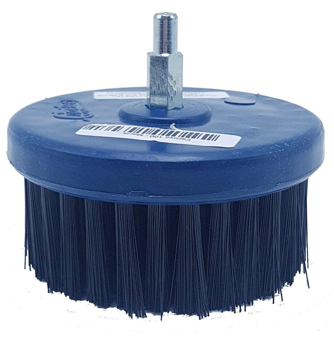 Escova Rotativa Macia 100mm Azul Escuro com Eixo Copetec