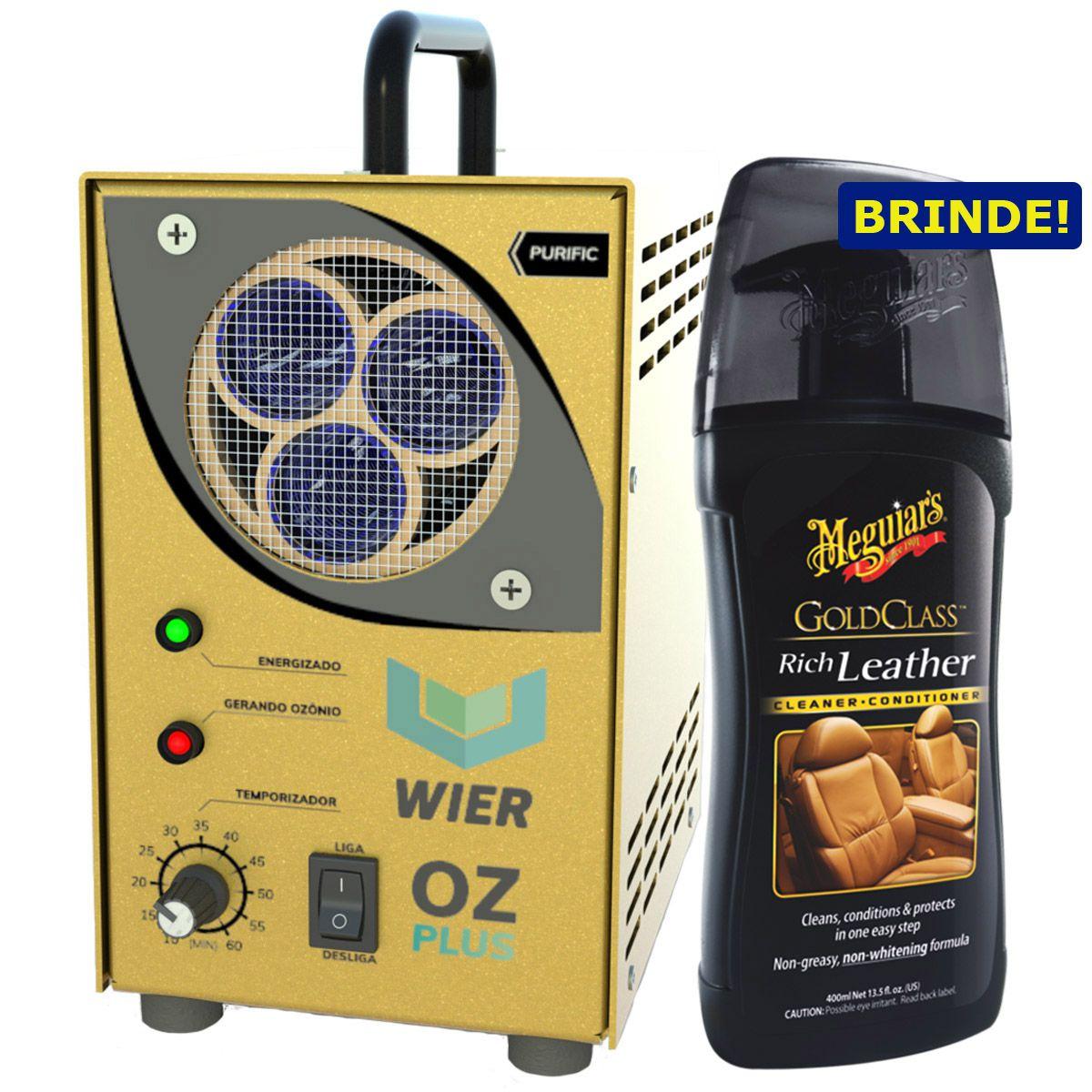 Gerador de Ozônio Purific OZ Plus Gold Wier + Hidratante de Couro Gold Class Rich Leather 400ml Meguiars