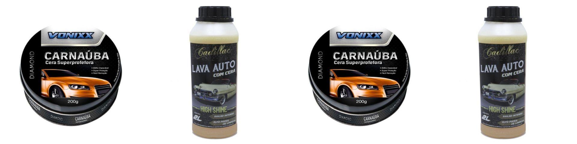 Kit 2 Cera De Carnauba+2 Lava Auto Com Cera