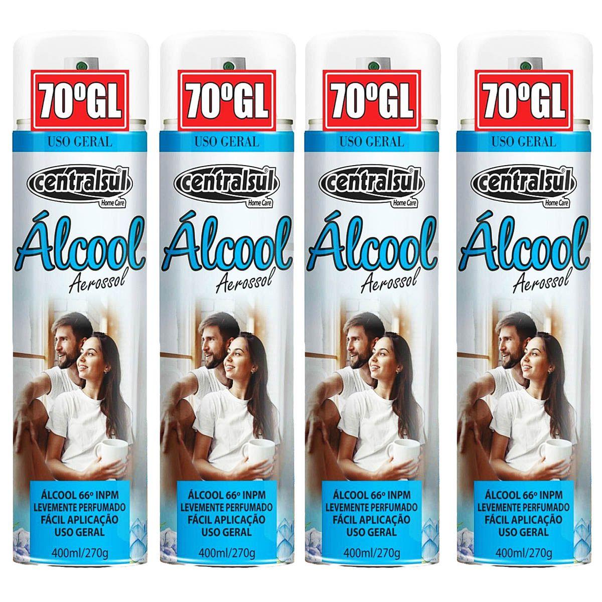 Kit Álcool 70 GL Aerosol 400ml Centralsul 4 Unidades