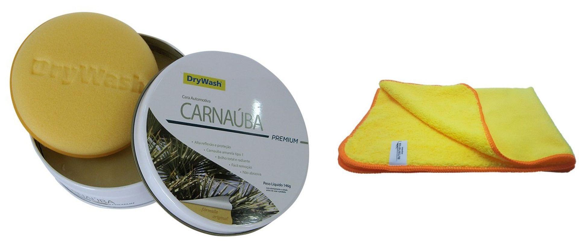 Kit Cera Carnaúba Premium 146g + 02 Uni. Flanela De Microfibra 60X40 (Sem Embalagem)