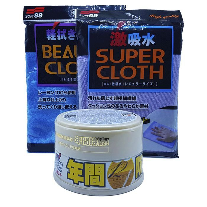 Kit Cera Fusso Cores Claras + Toalha Microfibra Super Cloth + Toalha Pele de Raposa Soft99