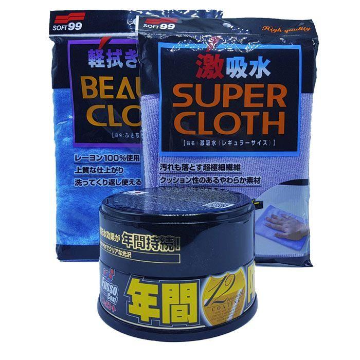 Kit Cera Fusso Cores Escuras + Toalha Microfibra Super Cloth + Toalha Pele de Raposa Soft99