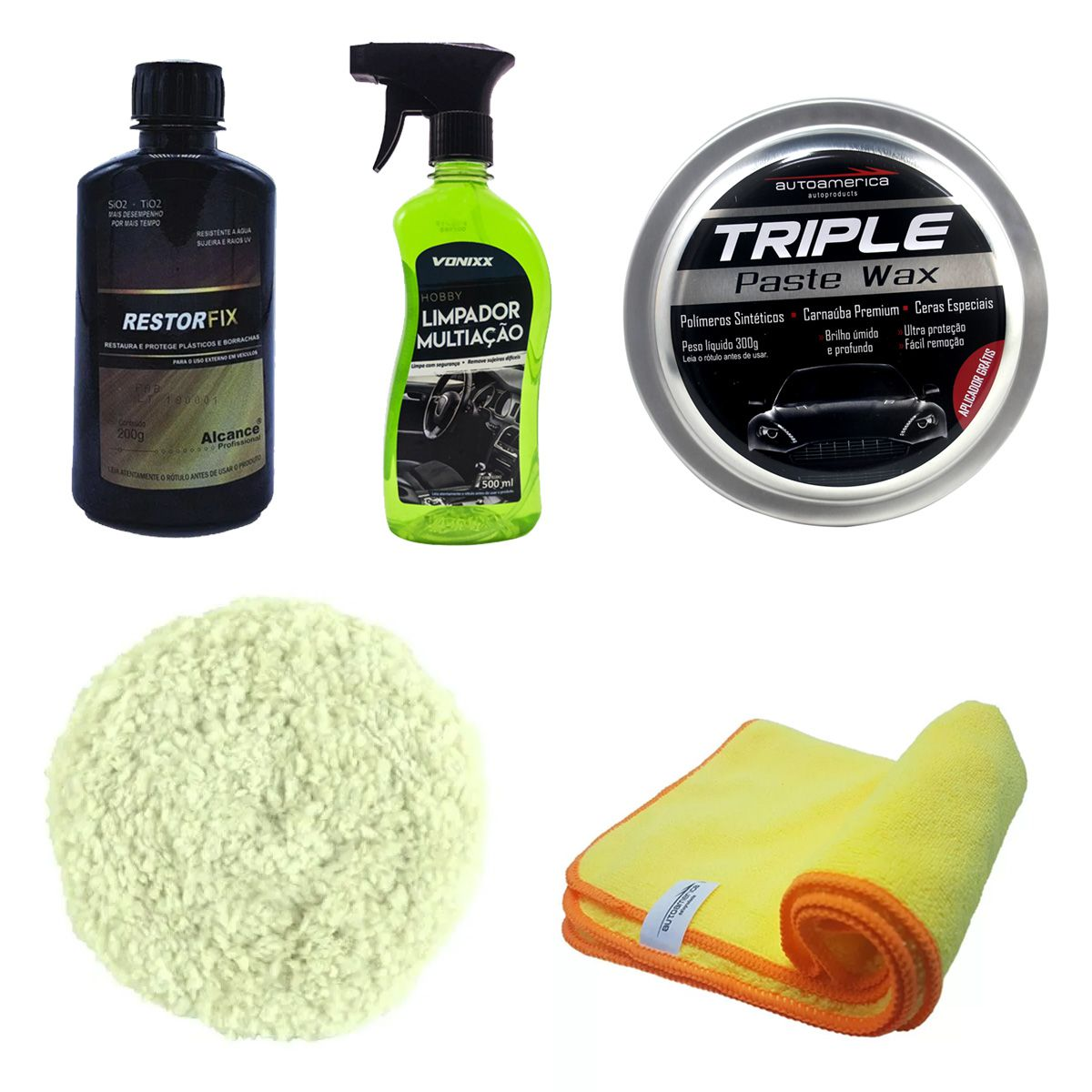 Kit Cera Paste Wax + Restorfix + Apc Vonixx + Flanela + Boina Dupla Face