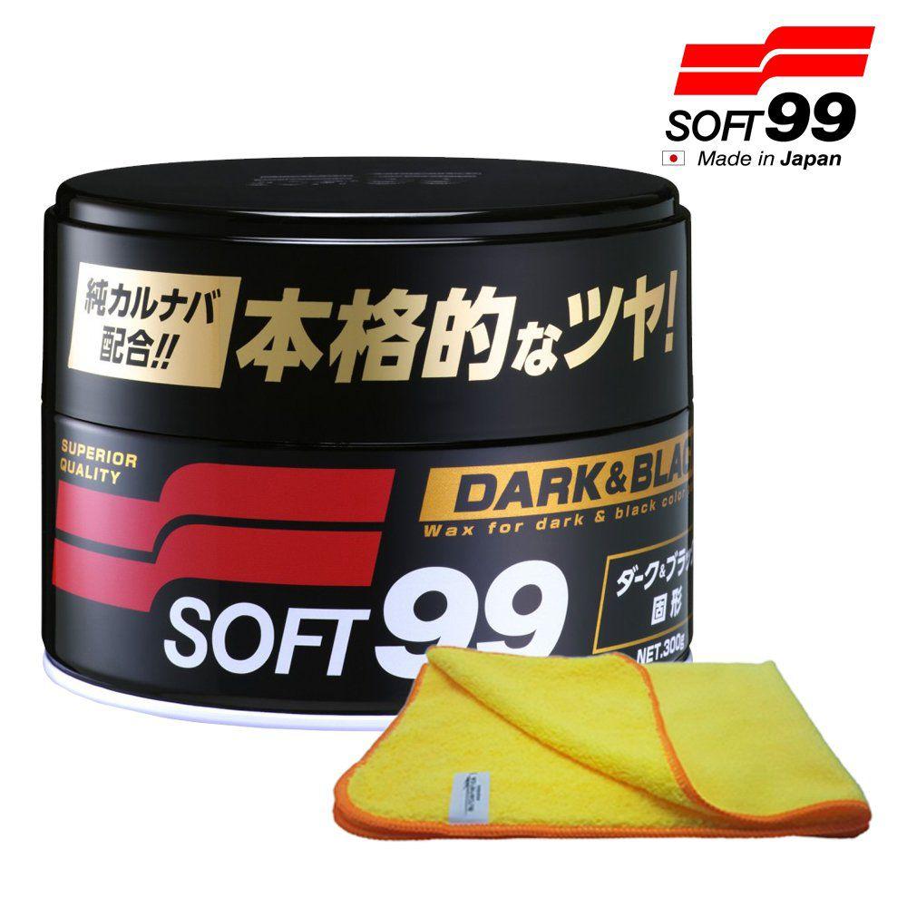 Kit Cera Premium Dark Black 300g Soft99 + Flanela Autoamerica 40x60