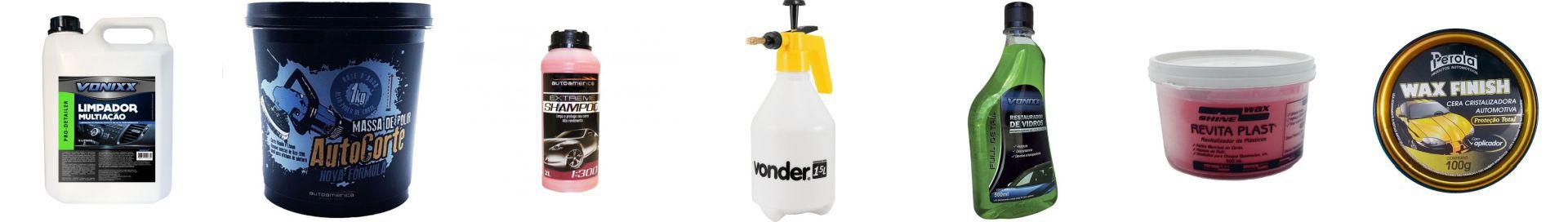 Kit Cera+Shampoo+Massa De Polir+Restaurador De Vidro+Revitalizador+Pulverizador+Multiação