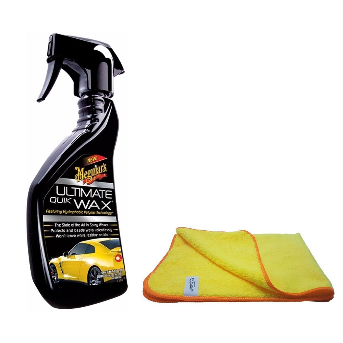 Kit Cera Spray Quik Wax Meguiars + Flanela de Microfibra 40x60 Autoamerica